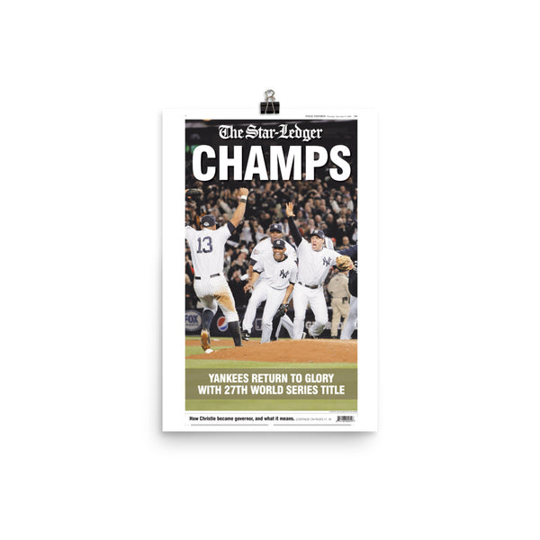 Yankees 2009 World Series champs front page poster reprint