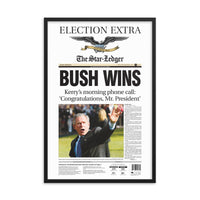 Framed front page reprint of 2004 election result