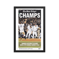 Yankees 2009 World Series champs framed front page keepsake