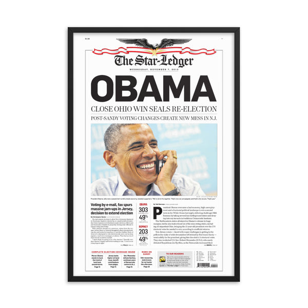 Framed front page reprint of 2012 election result