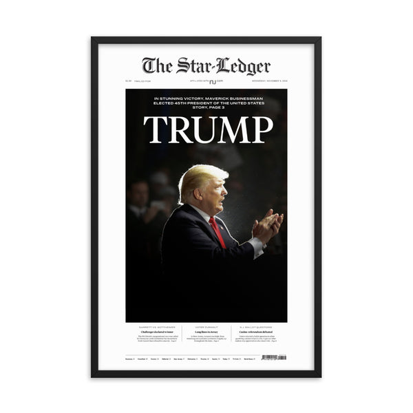 Framed front page reprint of 2016 election result