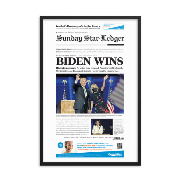 Framed front page reprint of 2020 election result