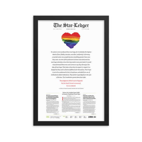Framed front page reprint of 2015 Supreme Court same-sex marriage ruling