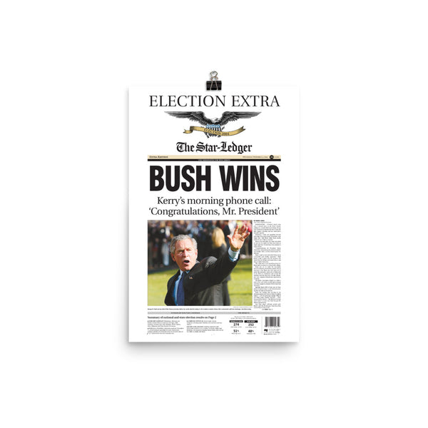 Front page poster reprint of 2004 election result