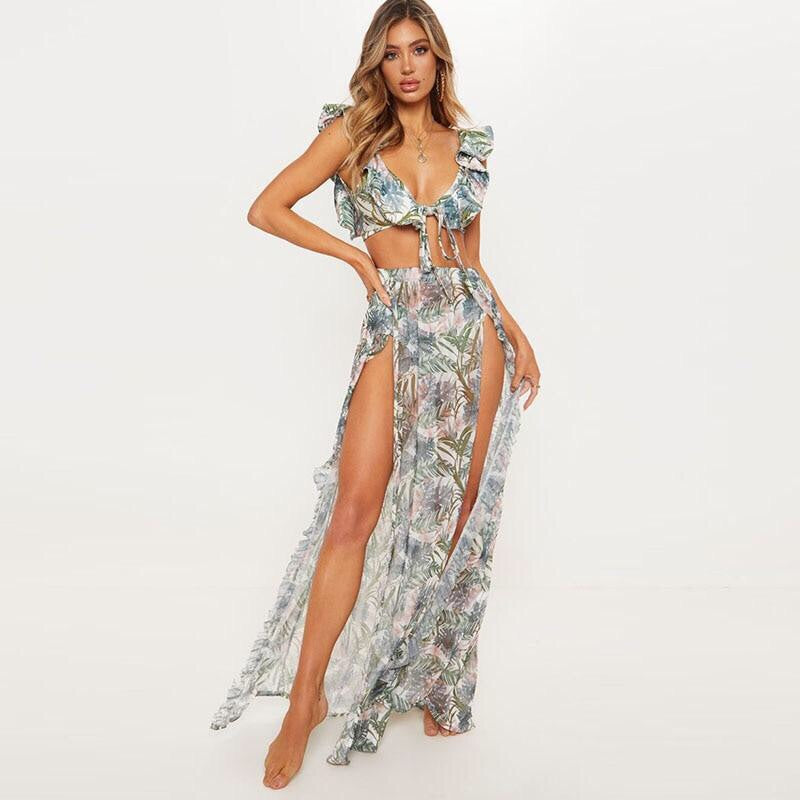 Hot Tropic Cover up Skirt & Bikini Set