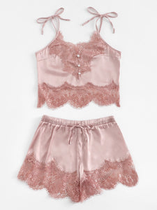 Contrast Lace Cami Top & Shorts With Thong