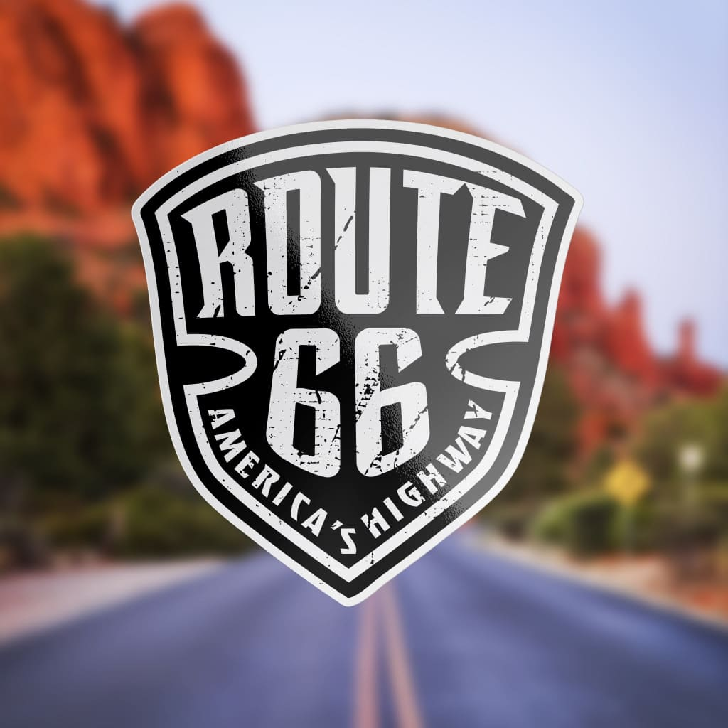 1433 - Route 66 Black And White Badge
