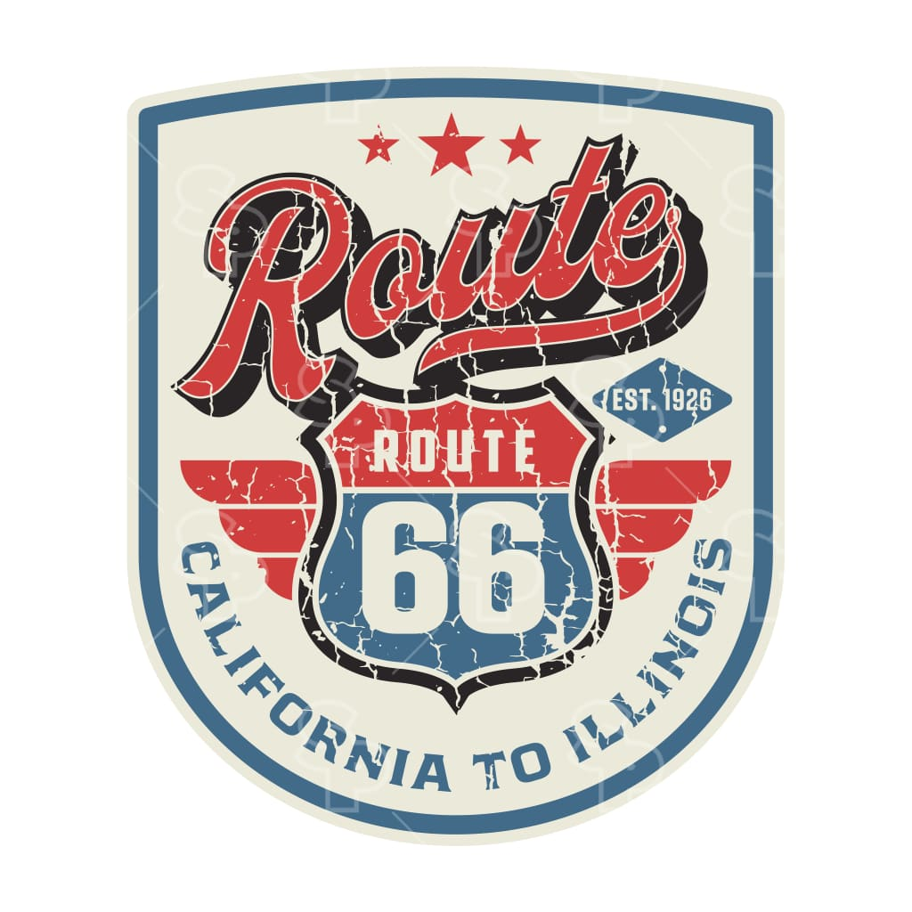 1434 - Route 66 Wing Badge In Shield