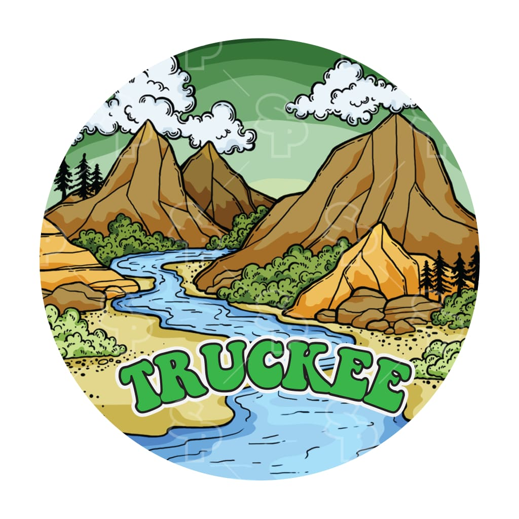 463 - Doodle Badge Mountains With River