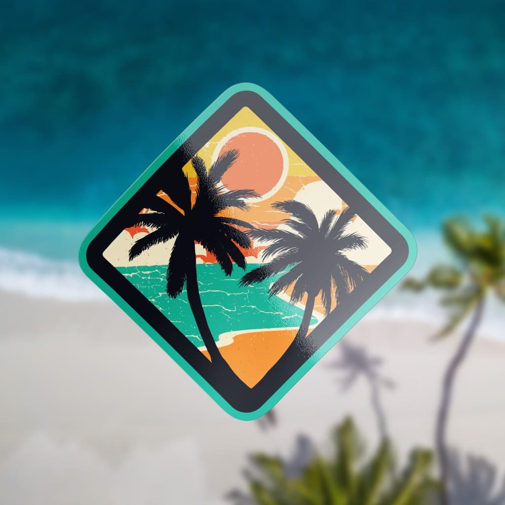 836 - Halftone Beach Palm Trees