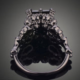 Black Rhodium Plated Demon Princess Rhinestone Wedding Ring