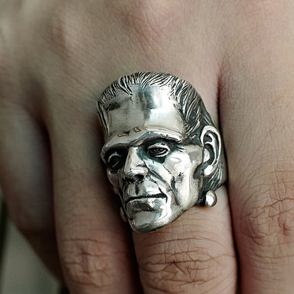 Victor Frankenstein Stainless Steel Skull Ring