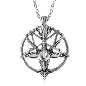 Inverted Pentacle Baphomet Skull Head Necklace