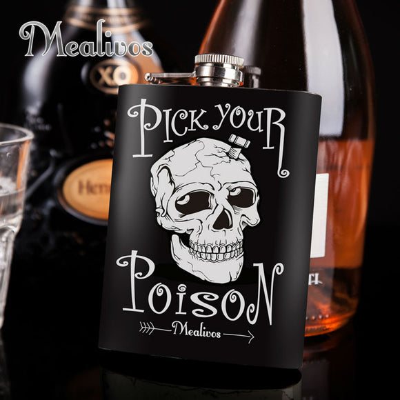 Stainless Steel Skull Hip Flask
