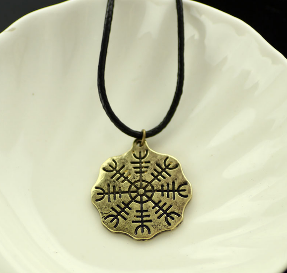 Mens Nordic  Helm of Awe Runic Amulet