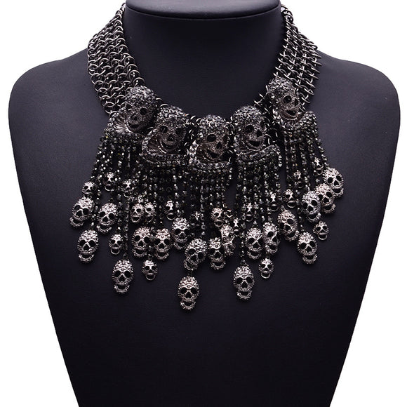 Retro Skull Bib Necklace