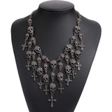 Vintage Skull and Crosses Bib Necklace