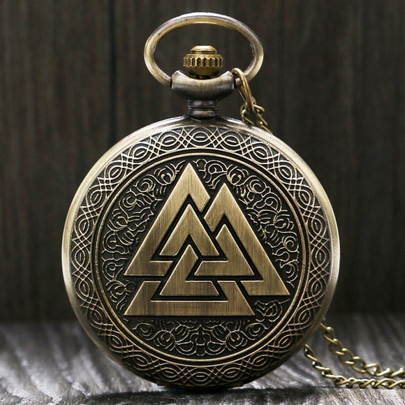 Vintage  Valknut  Viking Quartz Pocket Watch