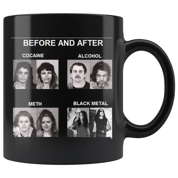 Before and After Black Metal Coffee Cup