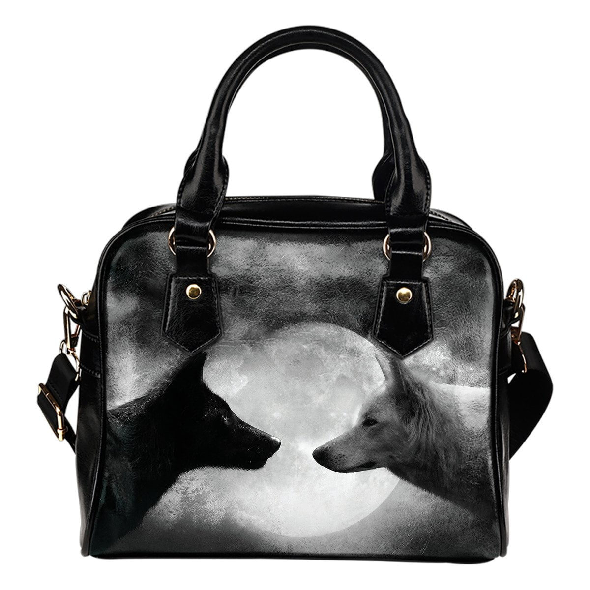2 Wolves Moon Shoulder Handbag