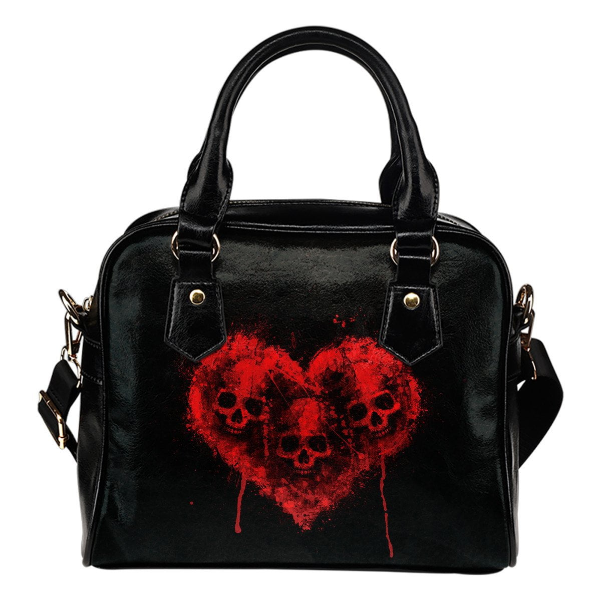 Deadly Skulls Heart Shoulder Handbag