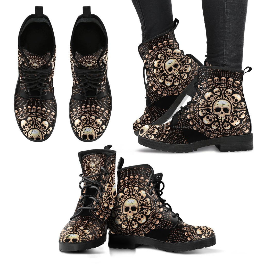 Skulls Bones Women's Leather Boots