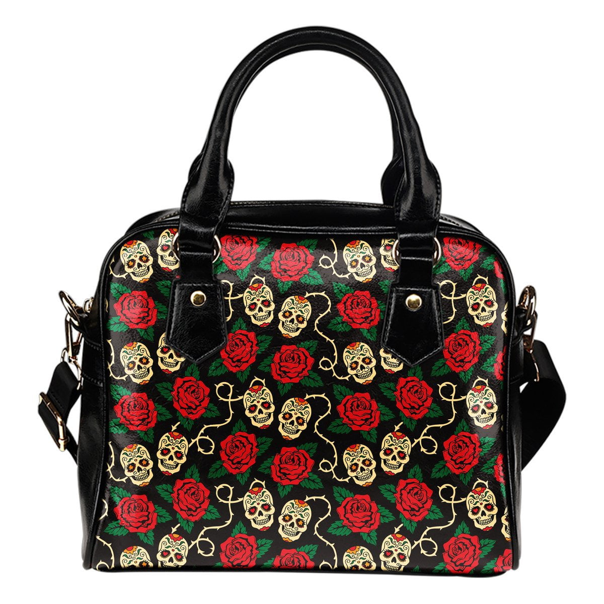 Mexican Skulls & Roses Shoulder Handbag