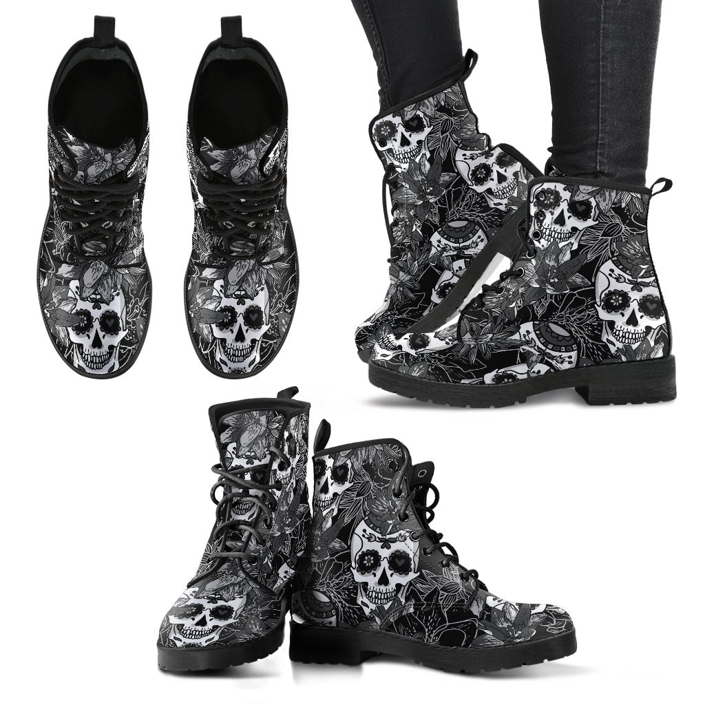 Sugar Skull Black & White Women's Leather Boots