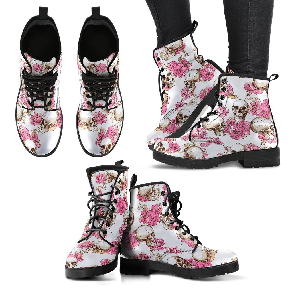 Skull With Pink Flowers Women's Leather Boots
