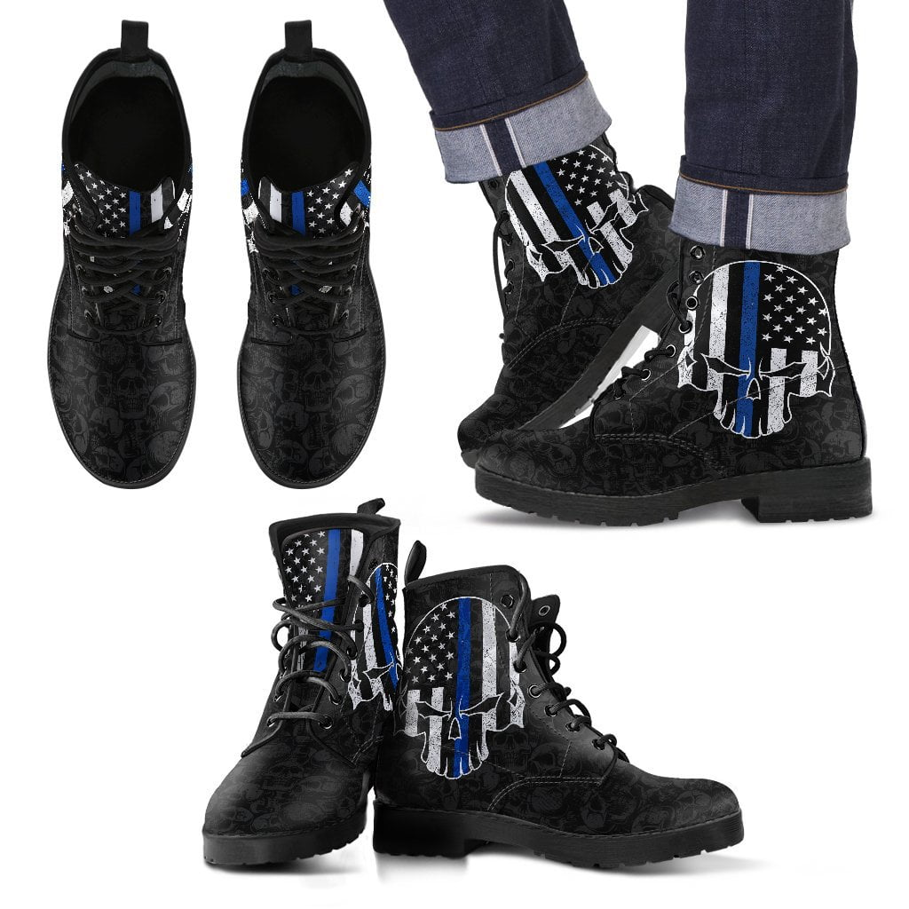 Thin Blue Line Bad Skull Boots