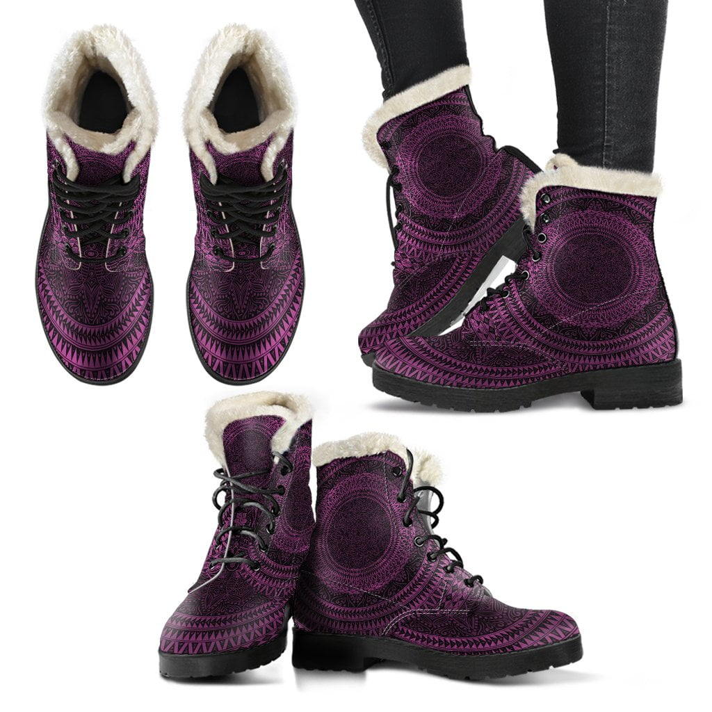 Purple Mandala Fur Boots