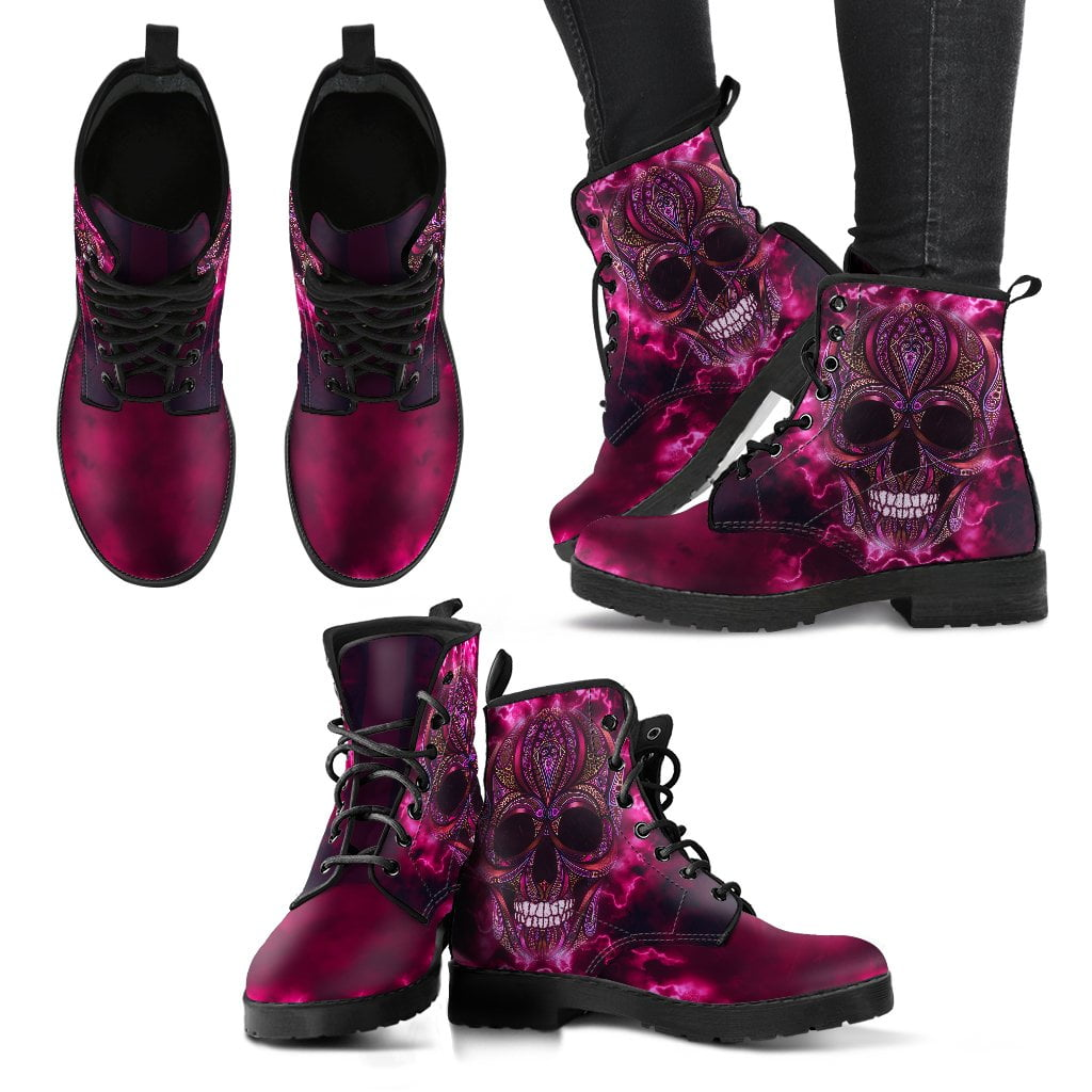 Oriental Skull Women's Leather Boots
