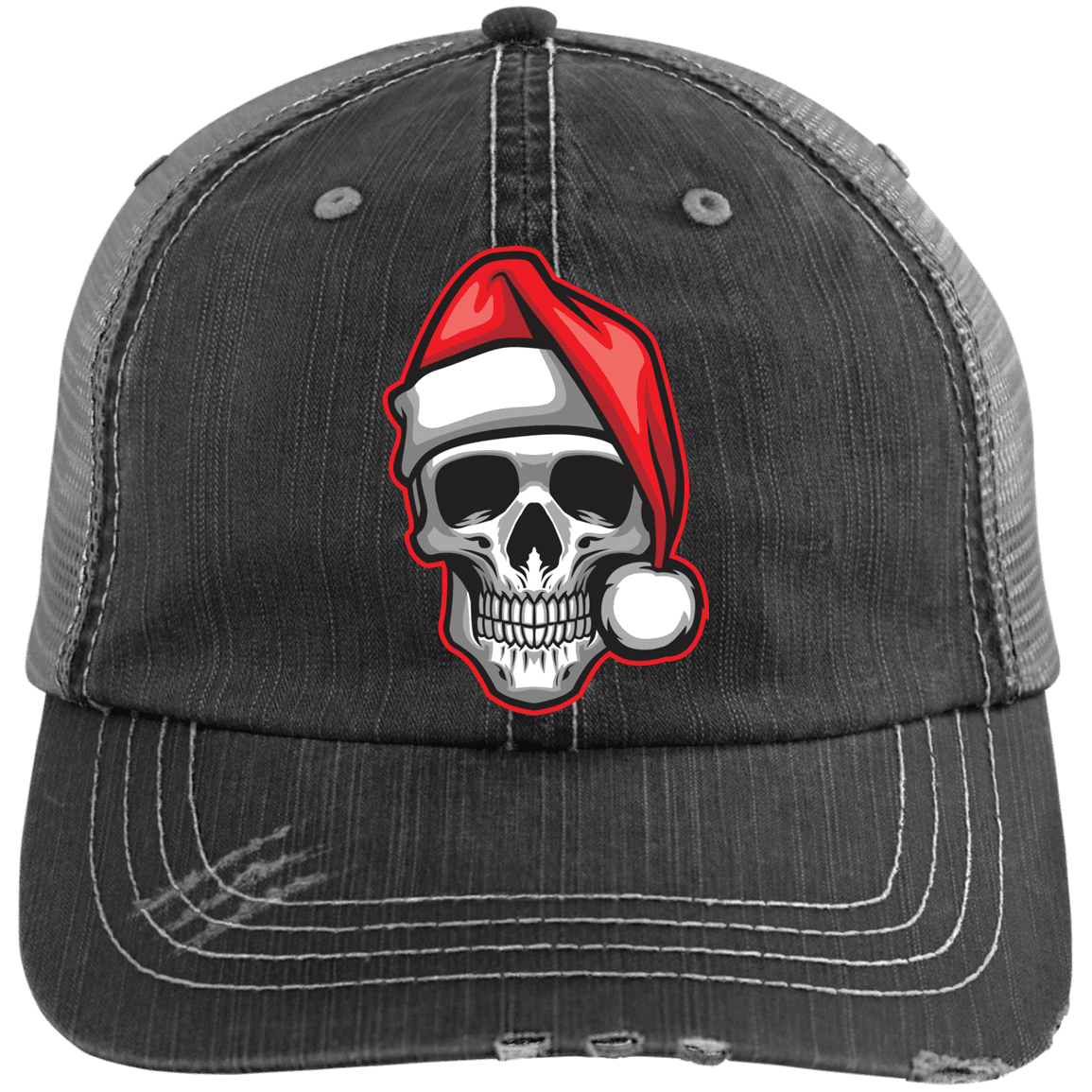 Santa Skull Distressed Trucker Cap