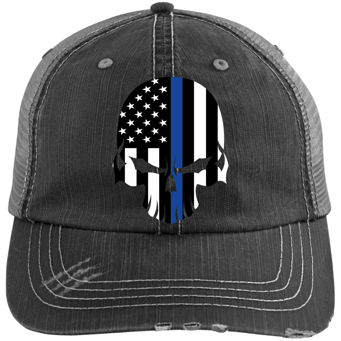 Thin Blue Line Bad Skull Distressed Trucker Cap