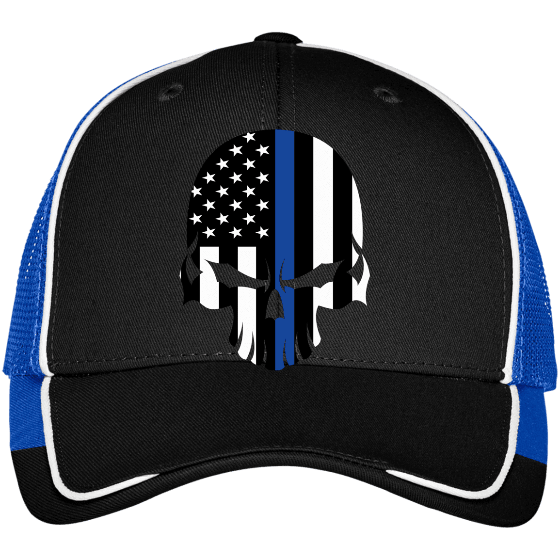 Thin Blue Line Bad Skull Mesh Back Cap