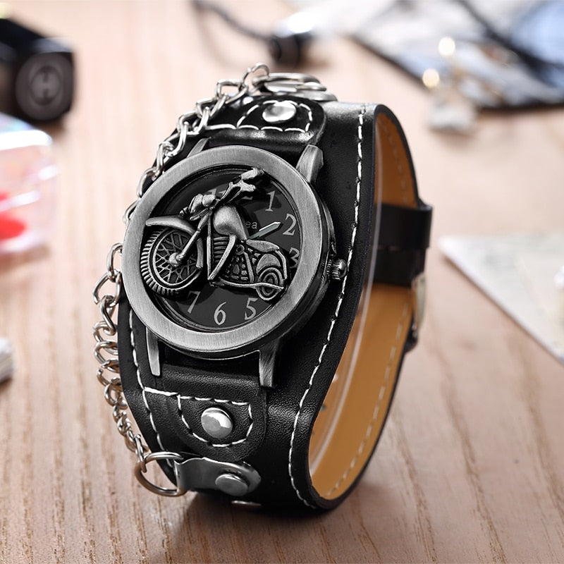 Motorcycle Leather Watch