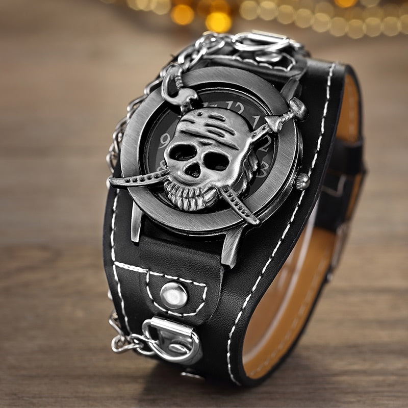 Pirate Skull Leather Watch