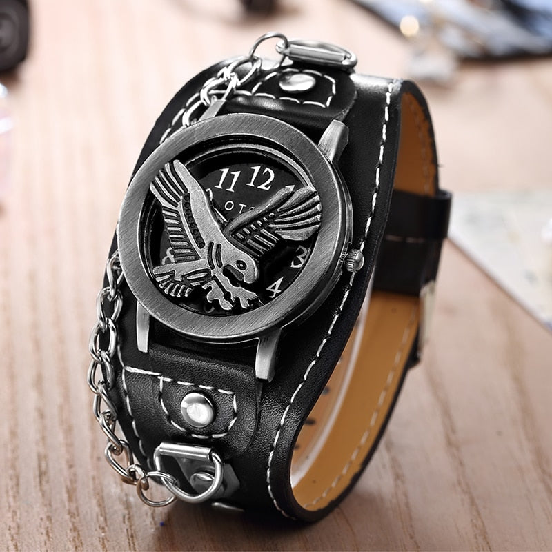 American Eagle Skull Leather Watch