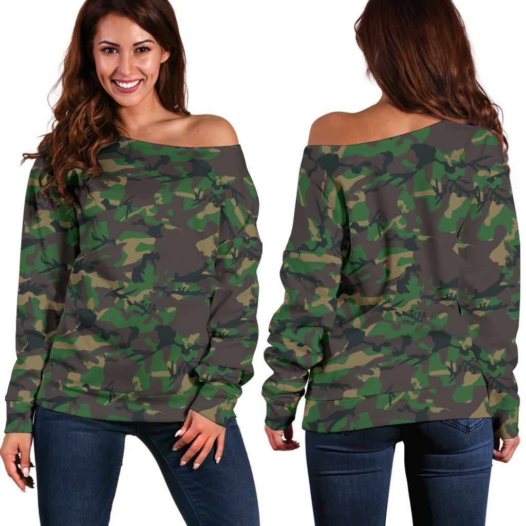 Camo Off Shoulder Sweatshirt