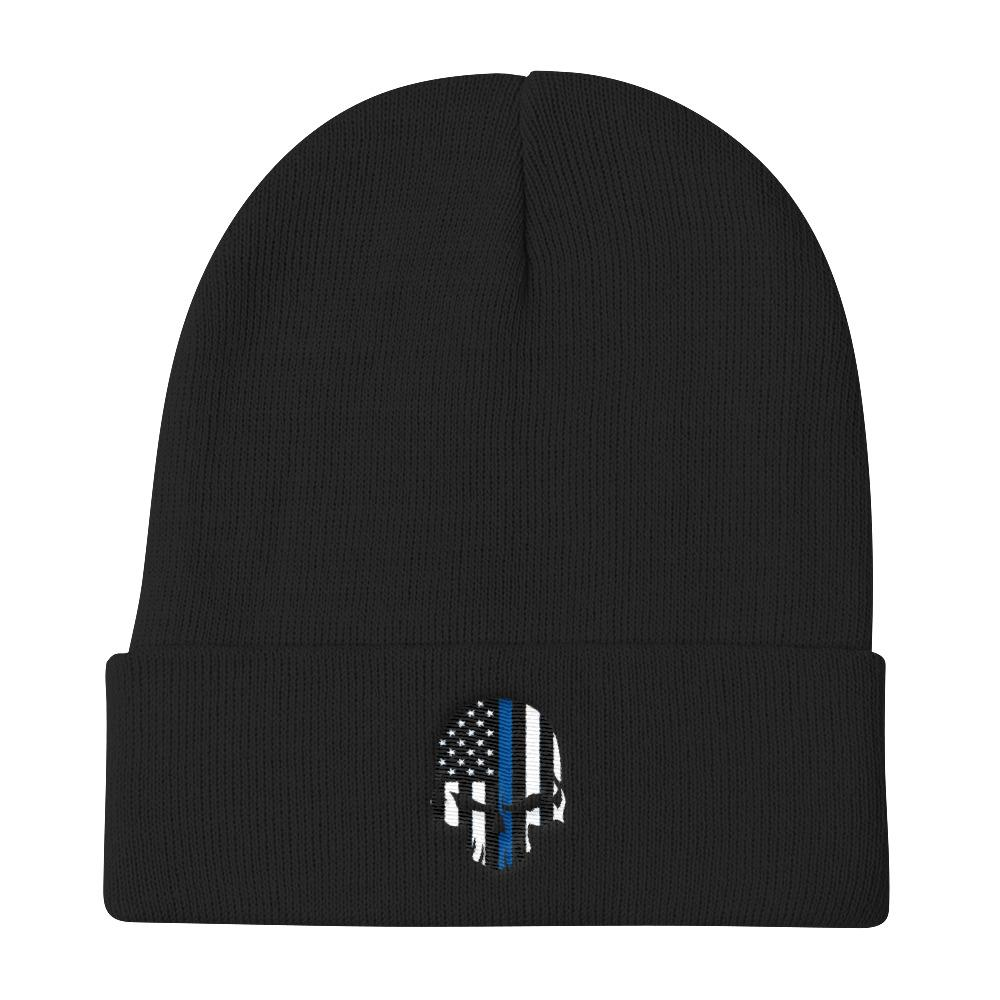 Thin Blue Line Bad Skull Knit Beanie