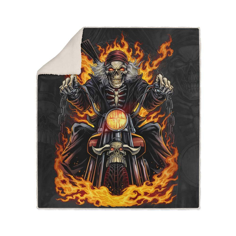 Skeleton Rider Fleece Sherpa Blanket