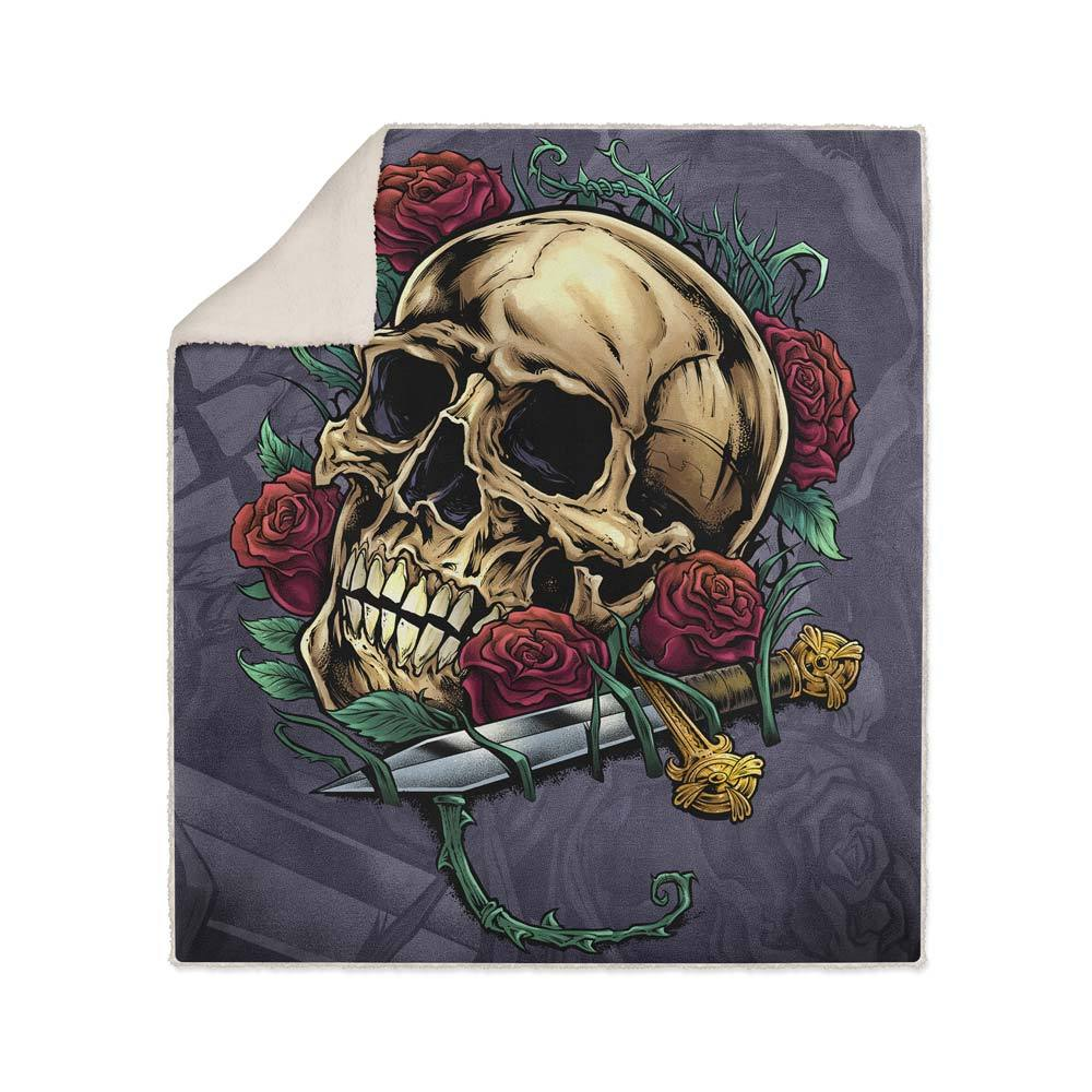 Skull Roses Fleece Sherpa Blanket