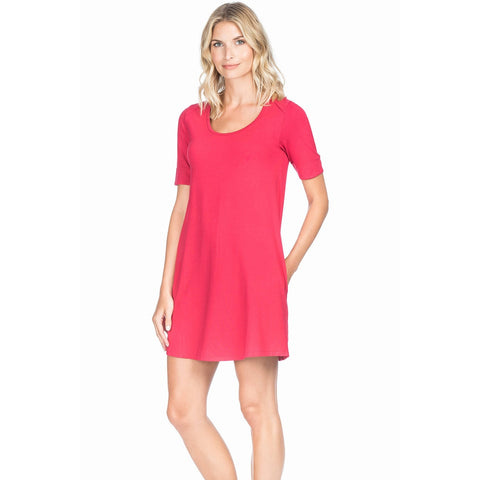 Lilla P Short Sleeve Dress in Raspberry