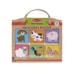 Melissa & Doug - Natural Play Wooden Puzzle: Farm Friends 2Y+