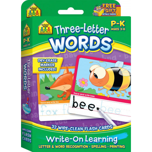 Three Letter Words - Write-On, Wipe-Clean Flash Cards - BambiniJO