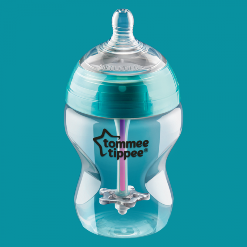 Tommee Tippee Advanced Anti-Colic Baby Bottle, Slow Flow Breast-Like Nipple, Heat-Sensing Technology, BPA-Free - 5 Ounce, 1 Count