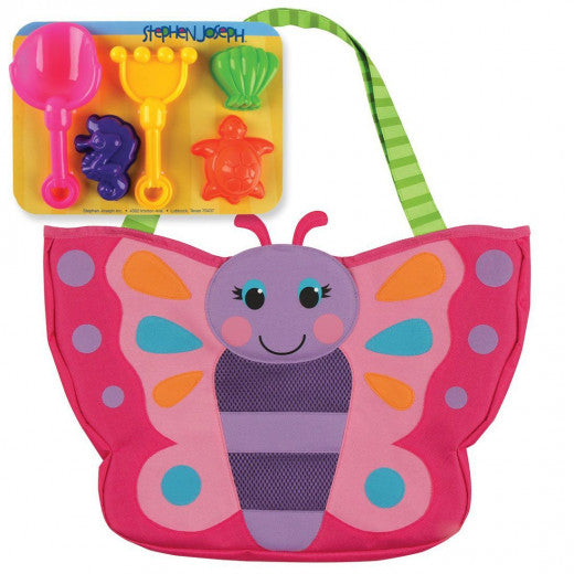 Stephen Joseph - Beach Totes with Sand Toy Play Set - BUTTERFLY