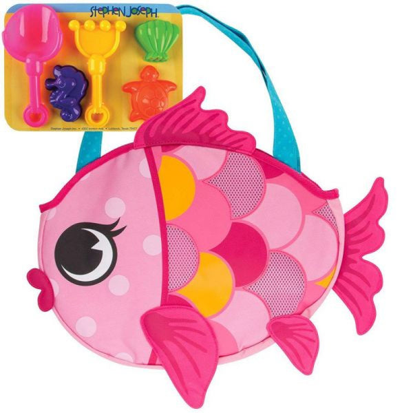 Stephen Joseph - Beach Totes with Sand Toy Play Set - FISH