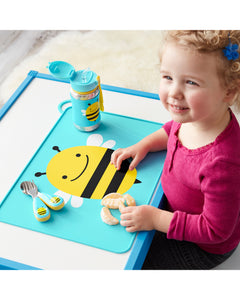 Skip Hop - Zoo Fold & Go Silicone Kids Placemat - Brooklyn - Bee - BambiniJO