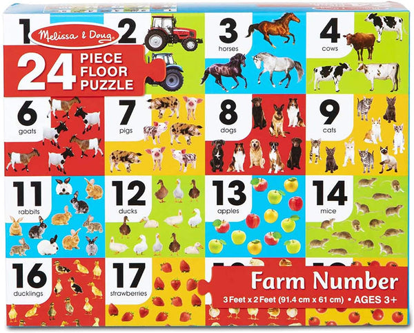 Melissa & Doug FARM NUMBER FLOOR PUZZLE (24 PC)